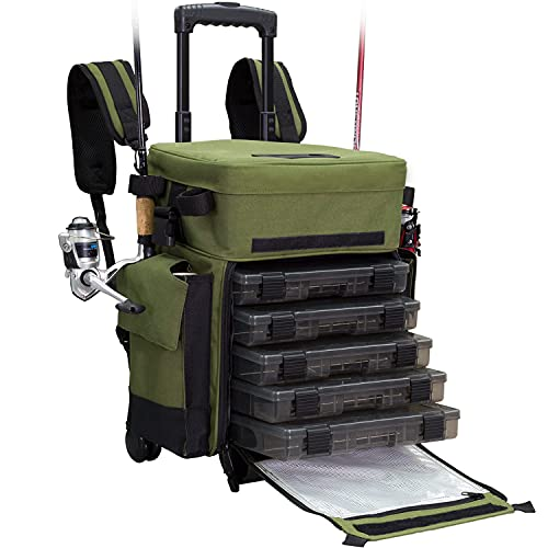 Elkton Outdoors Rolling Fishing Tackle Box X-Large...