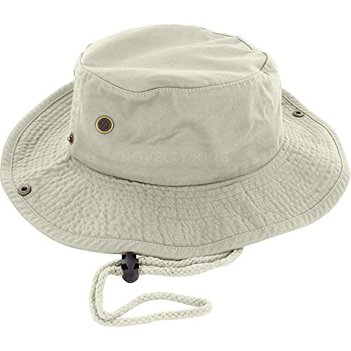 100% Cotton Boonie Fishing Bucket Hat with String...