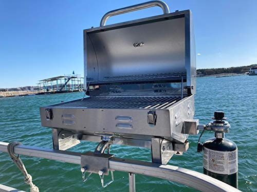 Boat Grill for Pontoon Boats Stainless Steel Adjustable...
